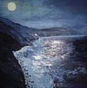 Blue Moon Over Big Sur Art Print