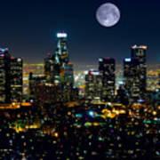 Blue Moon Over L.a. Art Print