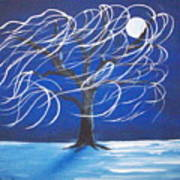 Blue Moon Willow In The Wind Art Print