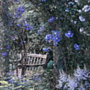 Blue Muted Garden Respite Art Print