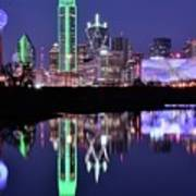 Blue Night And Reflections In Dallas Art Print