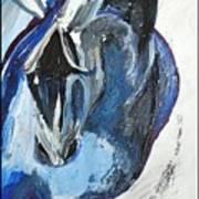 Blue Olympic Horse  Art Print