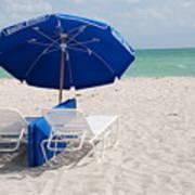 Blue Paradise Umbrella Art Print