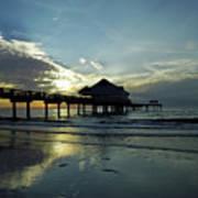 Blue Pier 60 Sunset Art Print