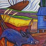 Blue Pig By Blue Hut Art Print