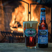 Blue Point Winter Ale By The Fire Art Print