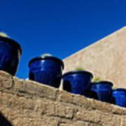 Blue Pottery On Wall Art Print