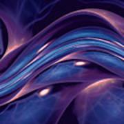 Fractal Wave Blue Purple Art Print