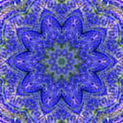 Blue Purple Lavender Floral Kaleidoscope Wall Art Print Art Print
