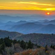 Blue Ridge Parkway Sunset - For The Love Of Autumn Art Print
