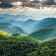 Blue Ridge Southern Appalachian Mountain Light Show Art Print