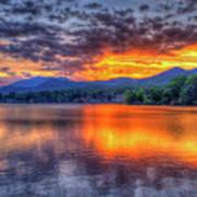 Blue Ridges Lake Junaluska Sunset Great Smoky Mountains Art Art Print