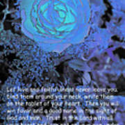Blue Rose With Scripture Art Print