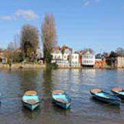 Blue Rowing Boats On The Thames At Hampton Court London Art Print