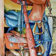Blue Saddle Art Print