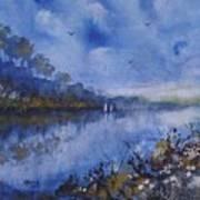 Blue Sail, Watercolor Painting Art Print