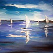 Blue Sailing Art Print
