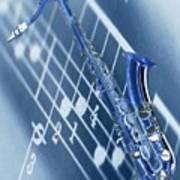 Blue Saxophone Art Print