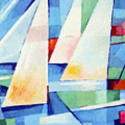 Blue Sea Sails Art Print