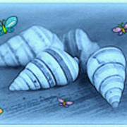 Blue Seashells Art Print