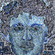 Blue Self Portrait Art Print