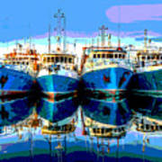 Blue Shrimp Boats Art Print