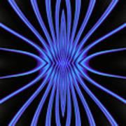 Blue Starburst On Black Art Print