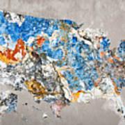Blue Street Art Us Map Art Print