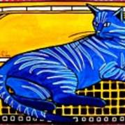 Blue Tabby - Cat Art By Dora Hathazi Mendes Art Print