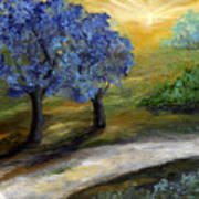 Blue Trees Print by Laura Swink