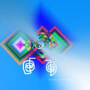 Blue Triple Interconnected Squares Art Print