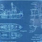 Blue Tugboat Blueprints Art Print