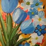 Blue Tulip Trio Art Print
