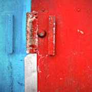 Blue Wall Red Door Art Print