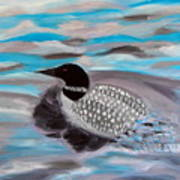 Blue Water And Loon Art Print