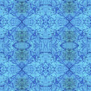 Blue Water Batik Tiled Art Print