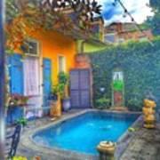 Blue Water Courtyard Art Print