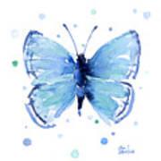 Blue Watercolor Butterfly Art Print