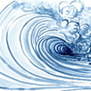 Blue Wave Modern Loose Curling Wave Art Print