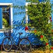 Blue Window With Bike Art Print