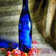 Blue Wine Bottle Art Print