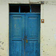 Blue Wood Door In A Building Art Print