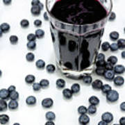 Blueberries And Blueberry Juice Art Print