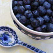Blueberries And Spoon  Art Print