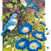 Bluebirds And Morning Glories Art Print