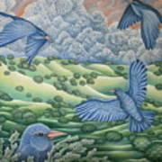 Bluebirds Of Happiness Art Print