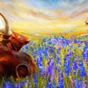 Bluebonnet Dream - Bluebonnet Paintings Art Print