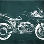 Blueprint For Men Office Decoration. R1100s Green Background Art Print
