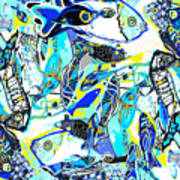 Blues Fishes Art Print