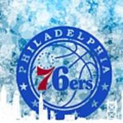 bluish backgroud for Philadelphia basket Art Print